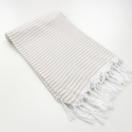 Turkish pareo towel fine stripes beige