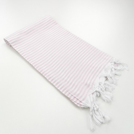 Turkish pareo towel fine stripes light pink