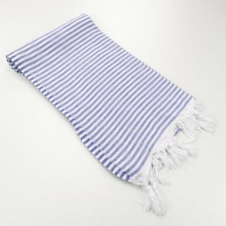 Turkish pareo towel fine stripes indigo