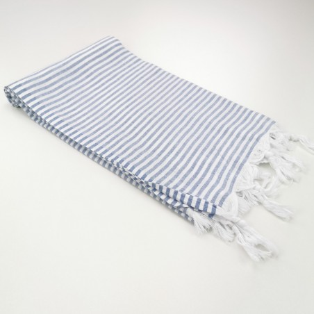 Turkish pareo towel fine stripes cornflower blue