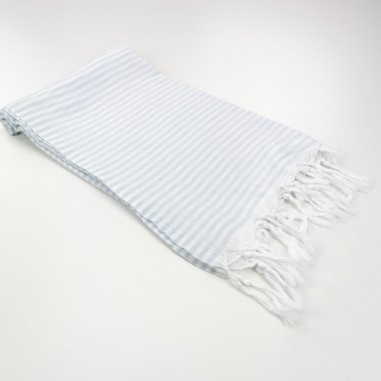 Turkish pareo towel fine stripes sky bluıe