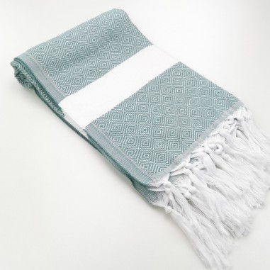 Diamond Turkish towel dark sea green