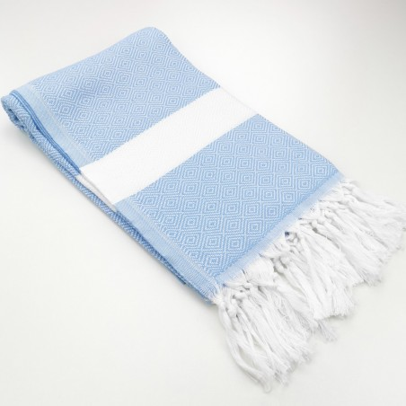 Fouta chevron diamants bleu pastel