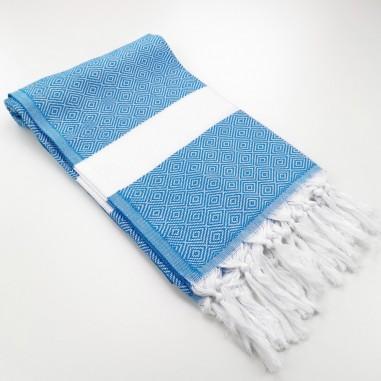 Diamond Turkish towel pool blue
