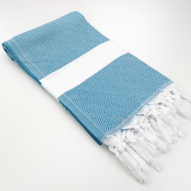 Diamond Turkish towel blue cyan