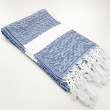Diamond Turkish towel cornflower blue