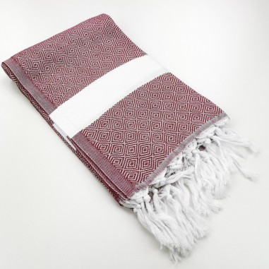 Diamond Turkish towel burgundy