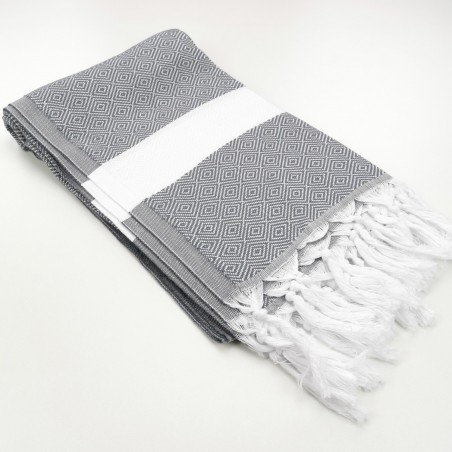 Diamond Turkish towel dark grey