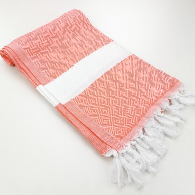 Diamond Turkish towel coral