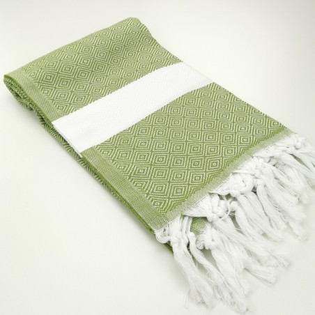 Diamond Turkish towel olive oil green