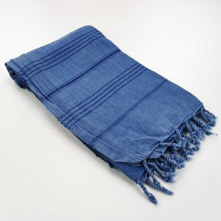 stonewashed Turkish towel royal blue