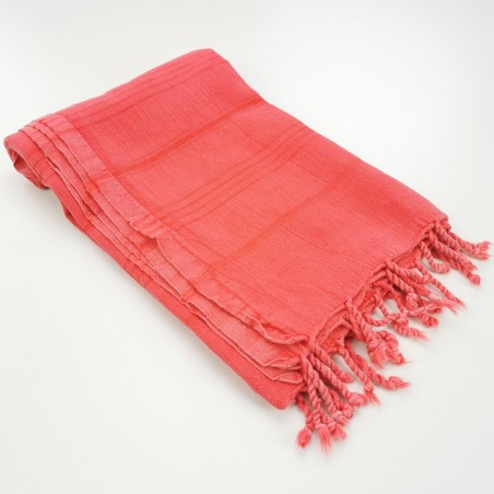 stonewashed Turkish towel coral
