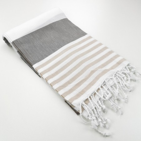 fouta a rayures bicolores taupe