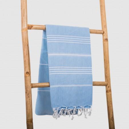 fouta plate bleu pastel