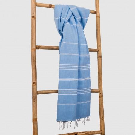 flat blue turkish towel