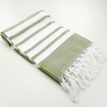 herringbone peshtamel towel olive green