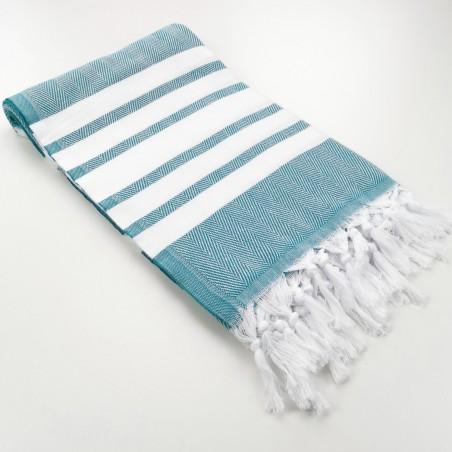 herringbone peshtamel towel dark cyan