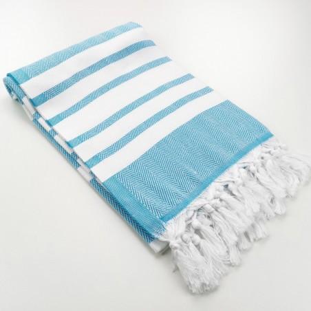 herringbone peshtamel towel turquoise