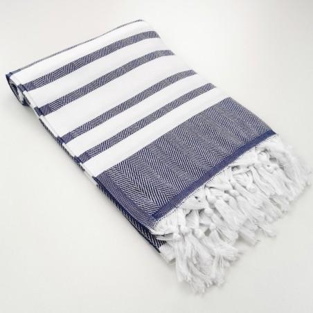 herringbone peshtamel towel navy