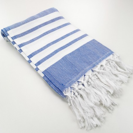 herringbone peshtamel towel royal blue