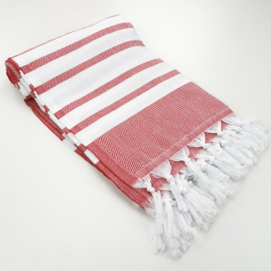 herringbone peshtamel towel red