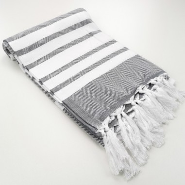 herringbone peshtamel towel dark grey