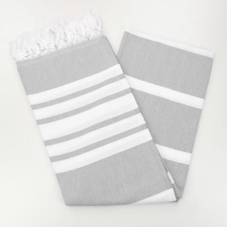 herringbone peshtamel towel light grey