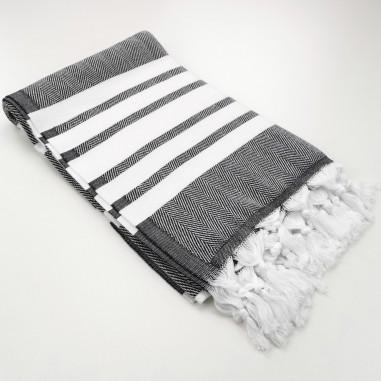 herringbone peshtamel towel black