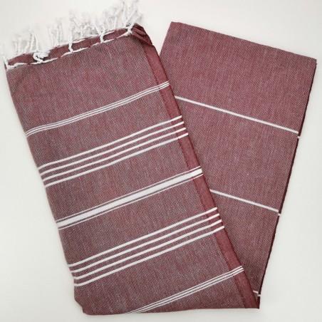 burgundy flat sultan peshtemal towel