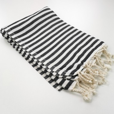 Herringbone Turkish towel black