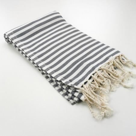 Herringbone Turkish towel grey