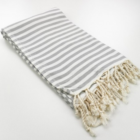 Herringbone Turkish towel light grey