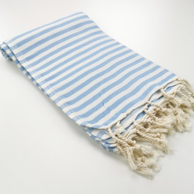 Herringbone Turkish towel pastel blue