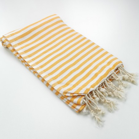 Herringbone Turkish towel tangerine