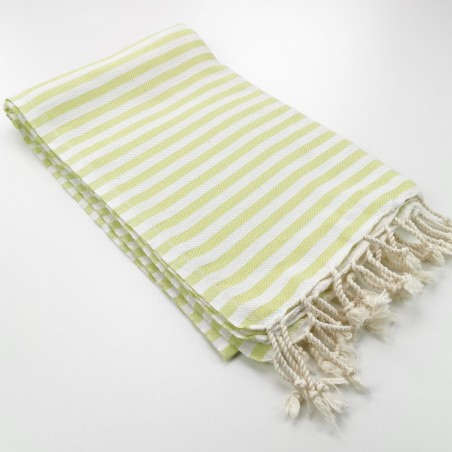 Herringbone Turkish towel lime green