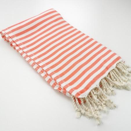 Herringbone Turkish towel coral