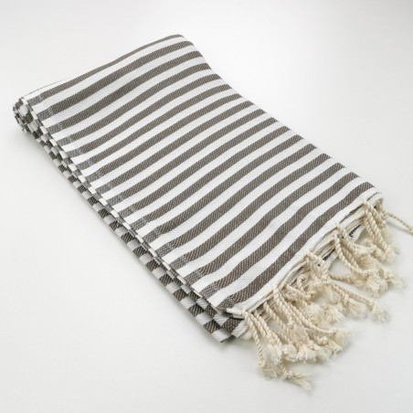 Herringbone Turkish towel taupe brown