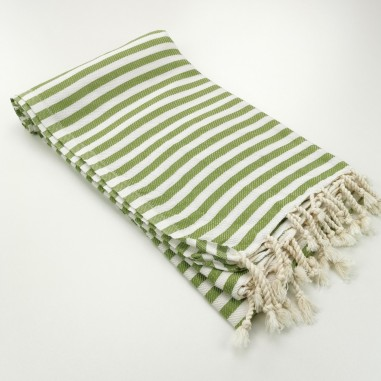 Herringbone Turkish towel olive green