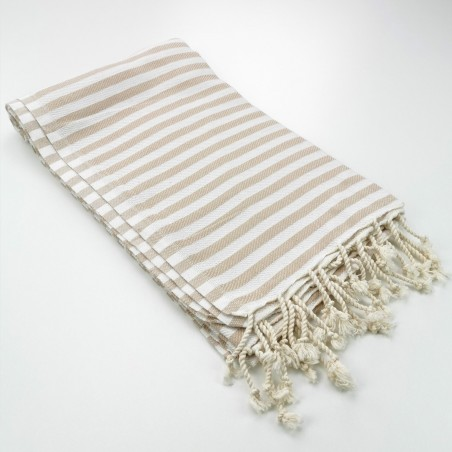 Herringbone Turkish towel beige