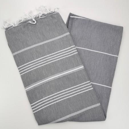 dark grey flat sultan peshtemal towel
