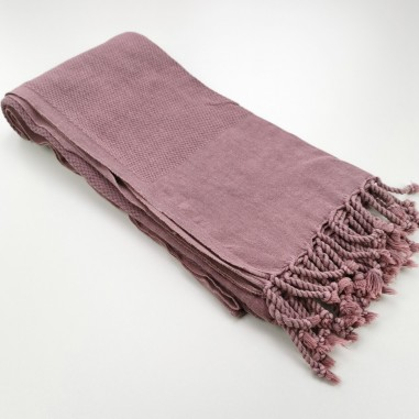 Honeycomb stonewashed towel pink purple