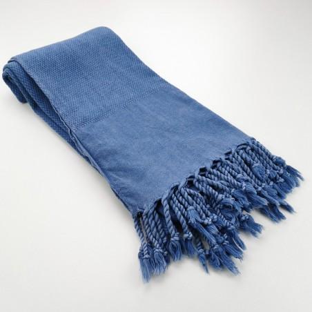 Honeycomb stonewashed towel royal blue