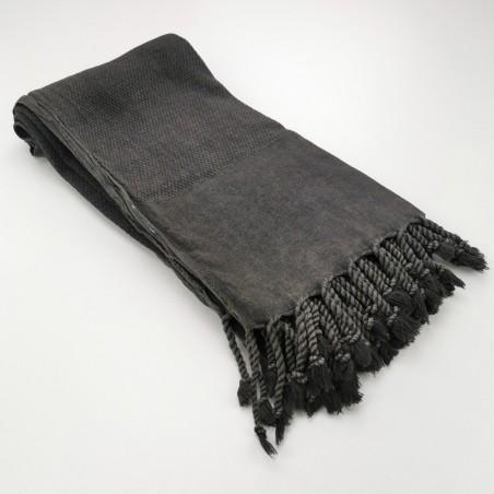 Honeycomb stonewashed towel black