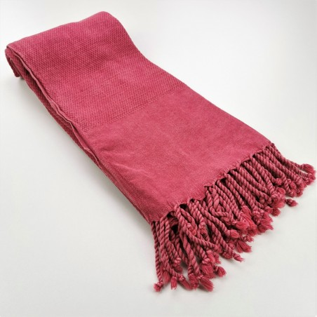 Honeycomb stonewashed towel raspberry