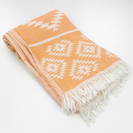 aztec pattern beach towel orange