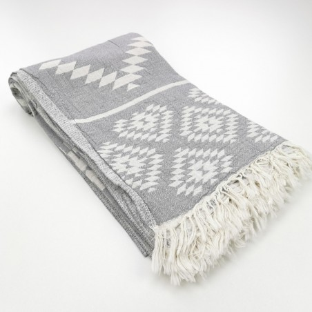 aztec pattern beach towel grey