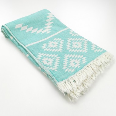aztec pattern beach towel medium green