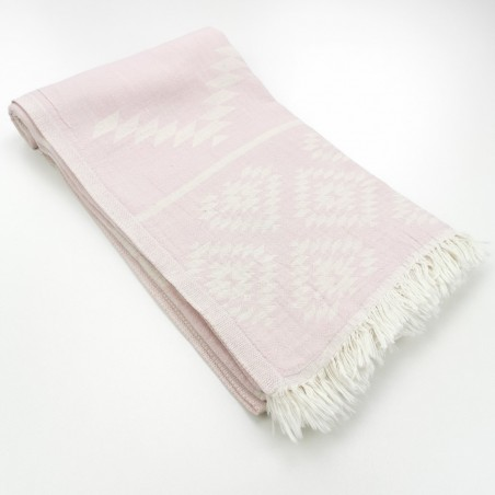 aztec pattern beach towel pastel pink