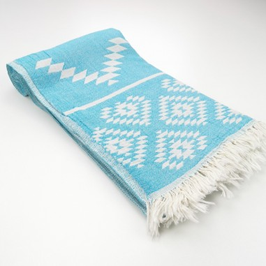 aztec pattern beach towel turquoise
