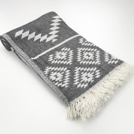 aztec pattern beach towel black